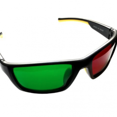 Reverse Wraparound Red Green Glasses