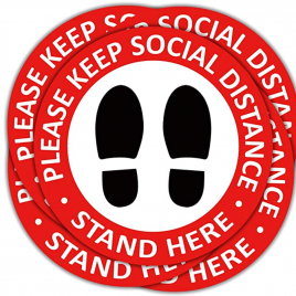 Social Distancing Floor Stickers – 5/pkg
